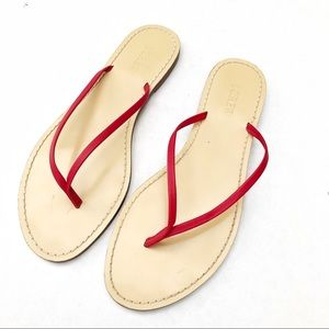 J. Crew Red Leather Flip Flops Size 9